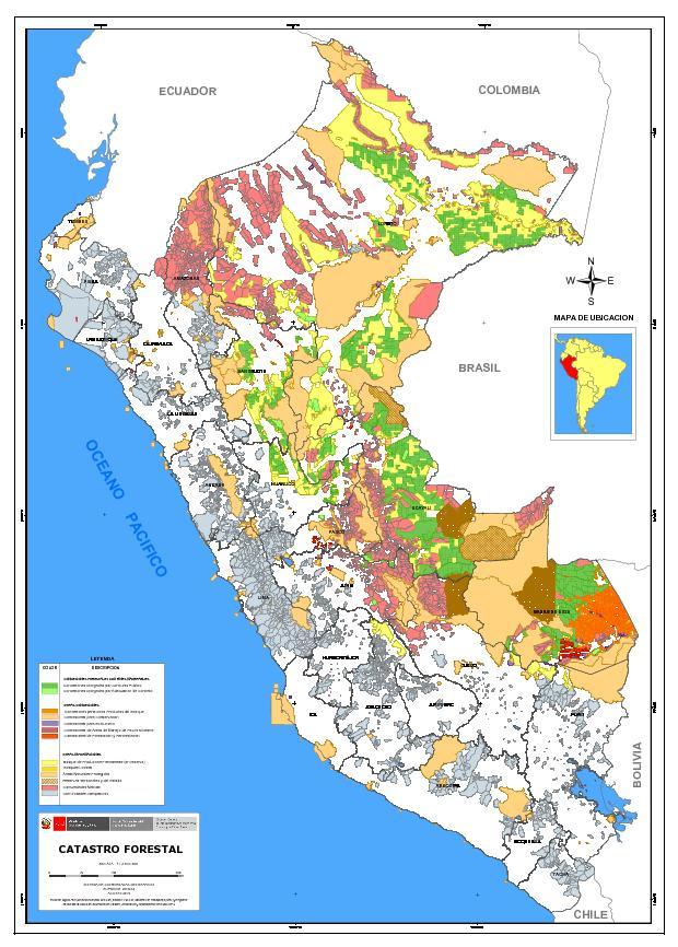 Mapa del catastro forestal del per agosto 2015 sinia for Plano de un vivero forestal