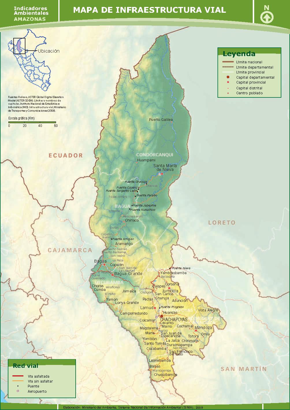 Mapa de Infraestructura Vial de Amazonas - 2009.   SINIA
